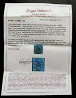 Italy Stamps SC#8, Sassone #8 Roman States Issued 1852 - Sismondo Certificate