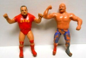 "2- Lot of Vintage Iron Sheik & Nikolai Volkoff WWF Rubber 8"" WRESTLING Figures"
