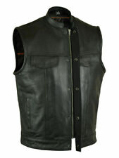 SOA Men's Leather Vest Anarchy Motorcycle Biker Club Prime Quality Vest