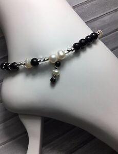 Handmade Pearl Black Jasper Stone Anklet/Ankle Bracelet W/Swarovski Elements USA