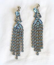 VINTAGE 50's BLUE RHINESTONE WATERFALL CHANDELIER FRINGE CLIP SCREW ON EARRINGS