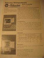 Berlin Firma:Elektrolux Kühlung,Tempelhof-Werbeblatt 1944/48.Advertising