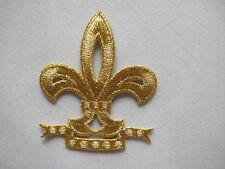 "2911 2-1/8""x2-1/2"" Gold/Golden Fleur-De-Lis Embroidery Iron On Applique Patch"