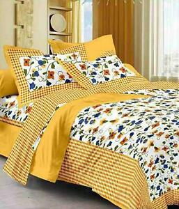 Multicolor Cotton King Size Jaipuri Printed Double Bedsheet With 2 Pillow Covers