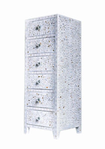 Mother Of Pearl Furniture White Floral Design Chest of 6 Drawers Tallboy