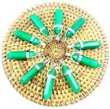 10PC Wholesale greenaventurine Hexagonal Point Pendant Gemstone Jewelry Necklace