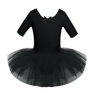 Girls Ballet Swan Tutu Dress Dance Gymnastics Skating Leotard Performance Skirt