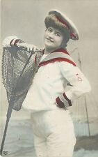 Hand-Colored EAS RPPC Postcard 315; Pretty Girl in Sailor Suit Dip Net Fishing
