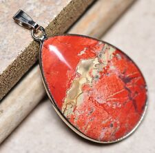 "Bloodstone Jasper Sea Sediment Quartz Natural Gemstone 1.75"" Silver Pendant #49"