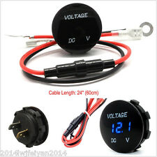 Blue LED Digital Display 0-30V Auto Car Voltmeter Voltage Gauge Meter Waterproof