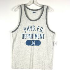 b8a04da3aa7f9 Old Navy Mens Tank Top Size Medium White Blue Phys Ed Department