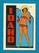"VINTAGE ORIGINAL 1948 SOUVENIR ""IDAHO"" COWGIRL PINUP TRAVEL WATER DECAL ART"