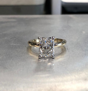4.00 Ct Radiant Cut Moissanite Solitaire Engagement Ring 14K Yellow Gold Plated