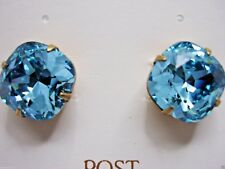 NEW Color Liz Palacios Light Turquoise Color Crystal earrings cushion cut
