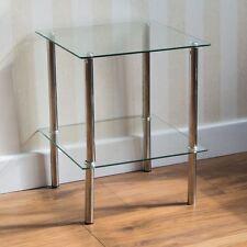 2 Tier Glass Shelf Unit Clear Shelving Storage Square Modern Furniture
