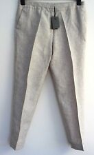 Pure Linen Trousers Beige/Stone  NWT  UK 12 R TU 28'' Length  Turn up hem