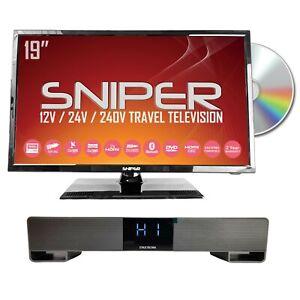 19″ HD LED Travel TV, built in DVD, Sat, Freeview, BT5.1 + Bluetooth Soundbar