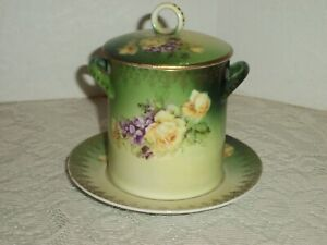 Hand Painted Condensed Milk Holder Container Roses Violets Germany