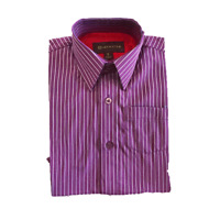 Dimension Boys Purple Button Down Striped Casual Going Out Dress Shirt 2-7