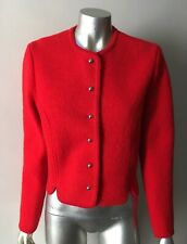 Chic Cardigan Cropped Vintage 90s 100% Wool Short Red Sweater Jacket Coat M 6