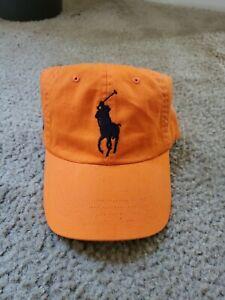 Mens Polo Ralph Lauren Baseball Cap Hat Big Pony Orange Navy Blue Leather Back