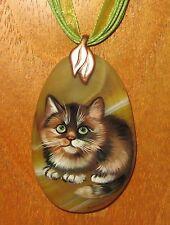 único Natural Amarillo colgante de piedra pintado a mano Marrón gatito
