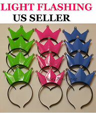 6 PACK Light-Up Princess Crown Headbands LED Blinking Flashing Frozen Supplies
