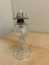 "Antiuque Pressed Glass Kerosene Oil Lamp Teardrop Bullseye 12"" Tall Eagle Burner"