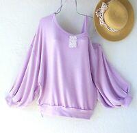 New~$78~Free People Lilac Flaunt It Magical Shirt Sweatshirt Boho Top~Medium M