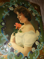 VICTORIAN LADY PINK ROSE PORTRAIT FLORAL LAVENDER VIOLETS CELLULOID PHOTO ALBUM