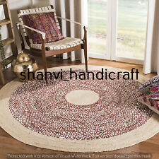 Natural Round Braided Handmade multi Color 7 Feet Jute Rug Area Rugs Carpet Mats