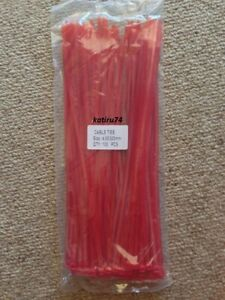 Colored Nylon Cable Ties 100pcs 4.8x300mm RED