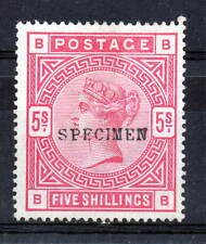 """SG. 180. """" BB """" 5/- Rose. A  mounted mint example overprinted SPECIMEN (NO GUM)"""