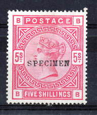 "SG. 180. "" BB "" 5/- Rose. A  mounted mint example overprinted SPECIMEN (NO GLUE)"