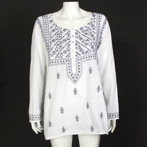 Subtle Luxury Cottagecore Embroidered Tunic Top Shirt White Gray M/L Indian 835