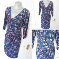 ❤ PER UNA Size 12 Navy Blue Peach Pink Stretchy Silky Feel Ruched Dress Lined
