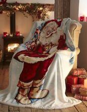 Christmas Sherpa Fleece Blanket Throw Father Christmas Santa 130CMS X 170CMS