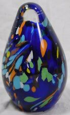Vtg End of Day Dichroic Art Glass Colorful Egg Shaped Paperweight Murano