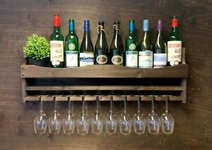 Wine Rack Shelf Wooden Home Bar - Bottle & 10 Glass Holder Drinks Garden(10DO)EL