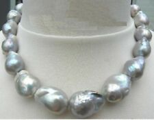 "TOP HUGE 18""28MM NATURAL AU. SOUTH SEA GENUINE NUCLEAR GRAY PEARL NECKLACE"