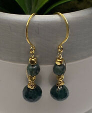 Emerald earrings. With Vermeil Hooks Beads handmade 14k Gold Filled wire wrapped