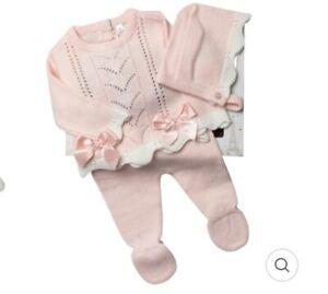 Newborn Baby Girl Spanish Knitted Outfit & Bonnet Pink Pram Gift Set 0-6 M  UK
