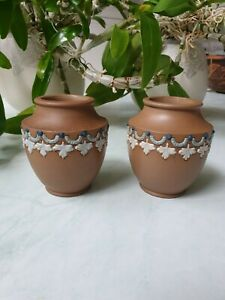 A Pair Royal Doulton Silicon Ware  Small Vases With Blue Leaves And Garlands