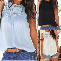 Women's Summer Lace Vest Top Short Sleeve Blouse Casual Tank Tops T-Shirt  US