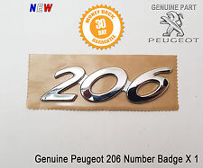 Peugeot 206 Tailgate Boot Badge Emblem Number Logo Rear Name New Original
