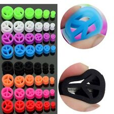 """Pair Soft Peace Silicone Ear Tunnels Plugs Gauges Earskin Earlets 2g - 5/8"""""""