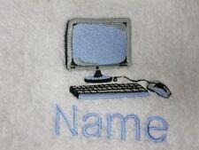 ordinateur et nom Personnalisable Brodé sur serviettes,Peignoir de bain capuche