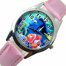 FINDING DORY NEMO FISH SEA CARTOON FILM MOVIE DVD GAME PINK LEATHER STEEL WATCH