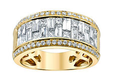 Diamond Anniversary Ring 18k Yellow Gold Band 2.58ct Princess Baguette VS1