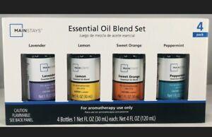 MainStays 4 Pack Essential Oil Blend 1 oz, Lavender Lemon Peppermint Orange